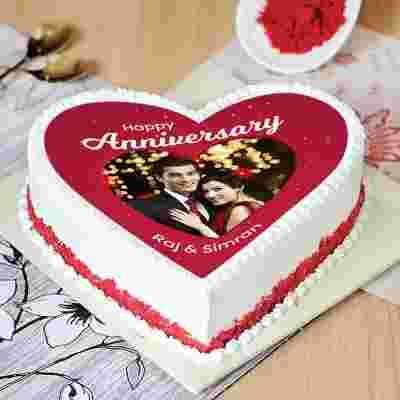 Tempting Red Velvet Anniversary Cake