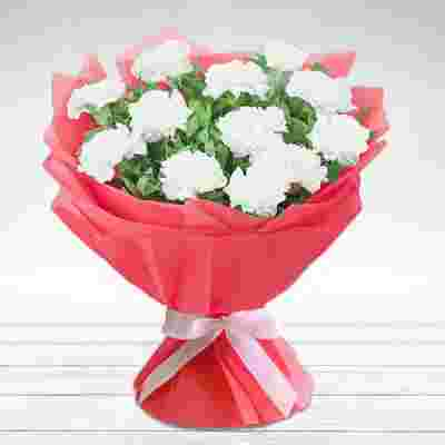 Lovely White Carnation In Red Wrapping