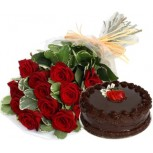 Bunch of 10 red roses and 500gm chocolate cake